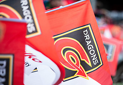 Dragons fans wave their flags<br /> <br /> Photographer Simon King/Replay Images<br /> <br /> Guinness PRO14 Round 12 - Dragons v Ospreys - Sunday 30th December 2018 - Rodney Parade - Newport<br /> <br /> World Copyright © Replay Images . All rights reserved. info@replayimages.co.uk - http://replayimages.co.uk