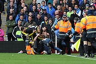 Chelsea's Frank Lampard (centre on ground) is mobbed by fans and players after he scores his sides 2nd goal. Barclays Premier League, Aston Villa v Chelsea at Villa Park in Birmingham on Saturday 11th May 2013. pic by Andrew Orchard,  Andrew Orchard sports photography,