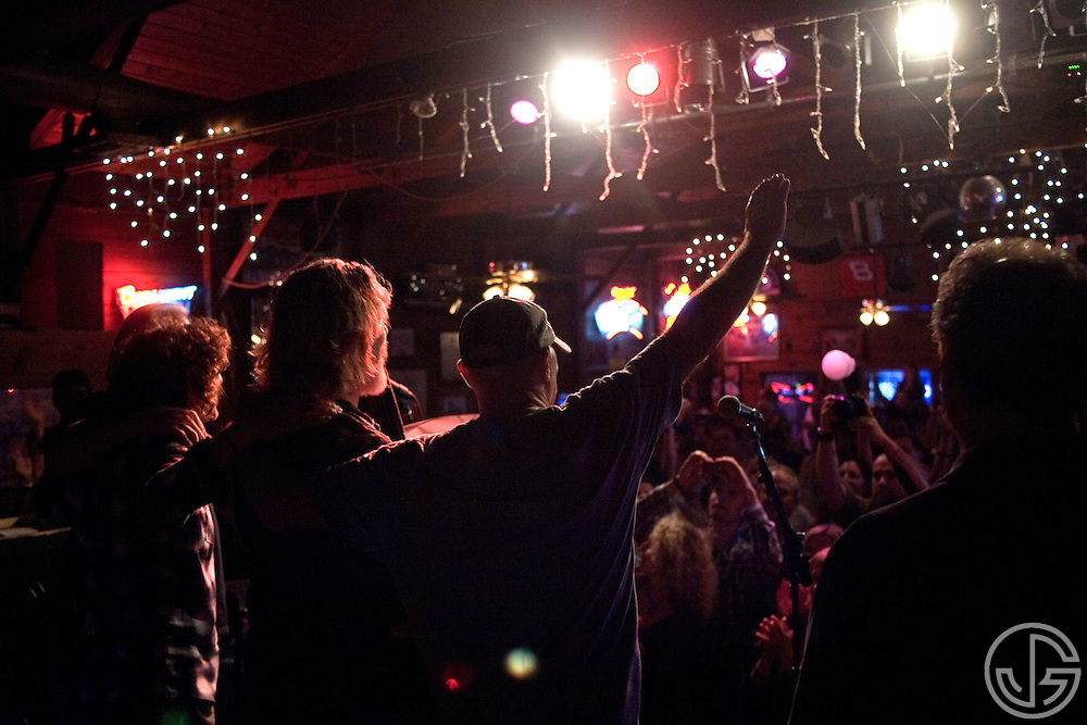 From left: Randy Tico, Jeff Bridges and Çhris Pelonis take a bow at Maverick Saloon in Santa Ynez, California, on June 23, 2011. Jeff Bridges' self-titled album is due for an August 16, 2011, release on Blue Note Records.