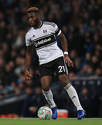 """Fulham's Timothy Fosu-Mensah during the Carabao Cup, Fourth Round match at the Etihad Stadium, Manchester. PRESS ASSOCIATION Photo. Picture date: Thursday November 1, 2018. See PA story SOCCER Manchester. Photo credit should read: Mike Egerton/PA Wire. RESTRICTIONS: EDITORIAL USE ONLY No use with unauthorised audio, video, data, fixture lists, club/league logos or """"live"""" services. Online in-match use limited to 120 images, no video emulation. No use in betting, games or single club/league/player publications."""