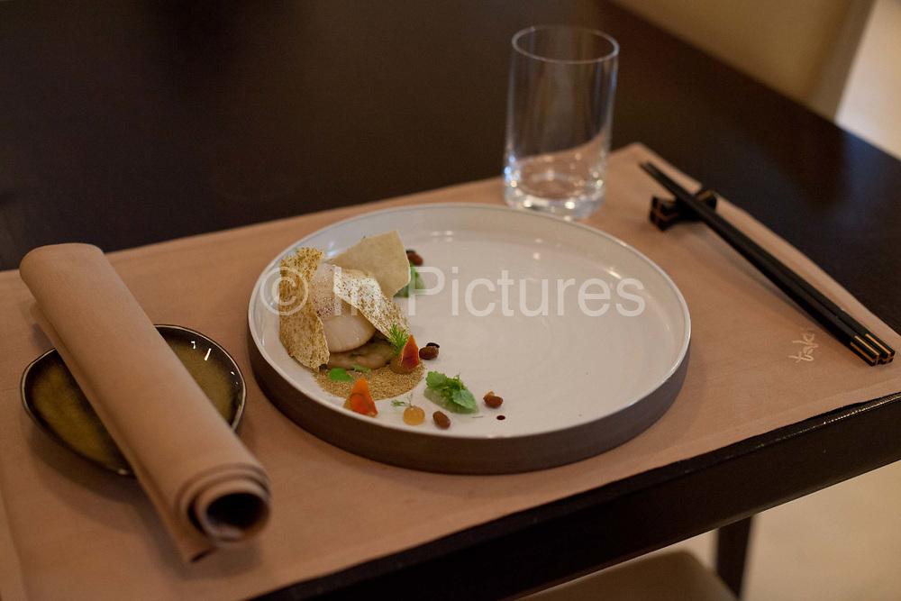 Details shot of gourmet food, Taku restaurant, Hotel Excelsior Hotel Ernst, Cologne.