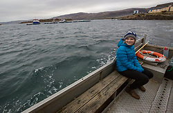 Resident Rebecca Munro on The Ulva ferry. Feature on the community on the island of Ulva, who have been awarded £4.4m in funding for their island buyout.