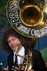 05 May 2012. New Orleans, Louisiana,  USA. .New Orleans Jazz and Heritage Festival. .Ben Jaffe with 'Preservation Hall and Friends' ensemble. .Photo; Charlie Varley.
