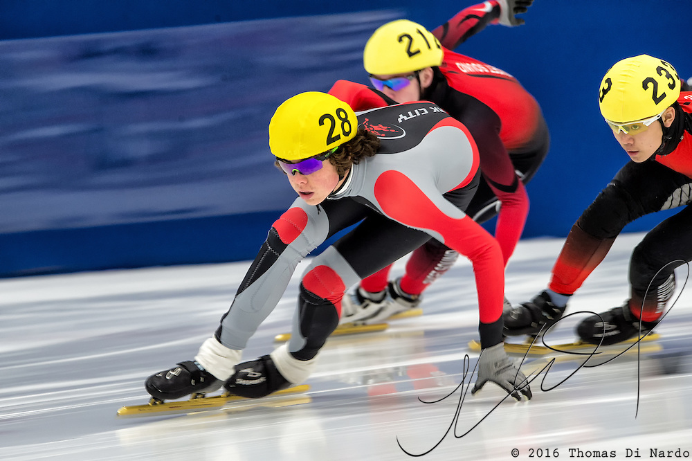 March 20, 2016 - Verona, WI - William Valentine, skater number 28 competes in US Speedskating Short Track Age Group Nationals and AmCup Final held at the Verona Ice Arena.