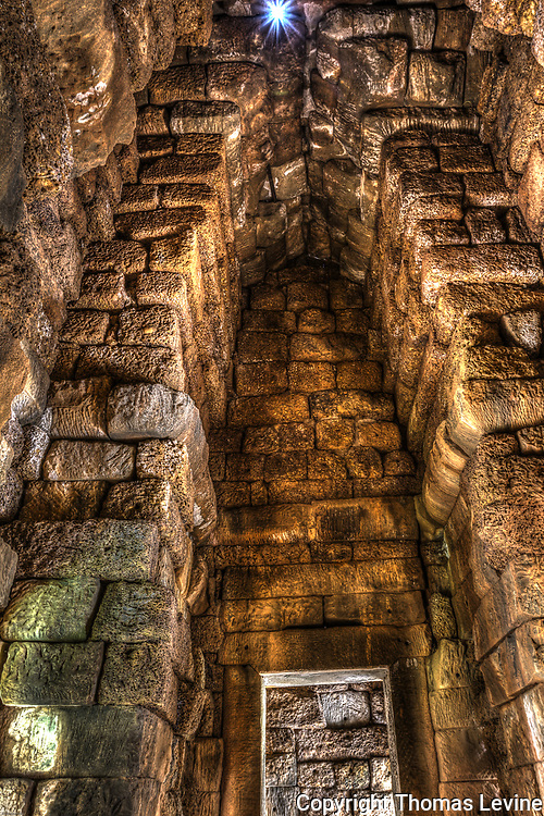 Multiple exposures HDR inside the temple stone block walls.