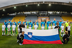 Team Slovenia Under-21 listening to the  National anthem during friendly Football match between U21 national teams of Slovenia and France, on September 8, 2019 in Ljudski Vrt, Maribor, Slovenia. Photo by Blaž Weindorfer / Sportida