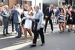 AU_1391671 - Melbourne, AUSTRALIA  -  AAMI Victoria Derby Day celebrities and VIPs in the Birdcage.<br /> <br /> Pictured: Rebecca Judd, Bec Judd, Chris Judd, Lana Wilkinson<br /> <br /> BACKGRID Australia 2 NOVEMBER 2018 <br /> <br /> BYLINE MUST READ: Richard Milnes / BACKGRID<br /> <br /> Phone: + 61 2 8719 0598<br /> Email:  photos@backgrid.com.au