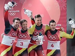 14.02.2018, Olympic Sliding Centre, Pyeongchang, KOR, PyeongChang 2018, Rodeln, Zweisitzer, Herren, im Bild v.l. Peter Penz und Georg Fischler (AUT, 2. Platz), Tobias Wendl und Tobias Arlt (GER, 1. Platz), Toni Eggert und Sascha Benecken (GER, 3. Platz) // f.l. silver medalist Peter Penz and Georg Fischler of Austria gold medalist and Olympic champion Tobias Wendl and Tobias Arlt of Germany bronce medalist Toni Eggert and Sascha Benecken of Germany during the mens doubles luge of the Pyeongchang 2018 Winter Olympic Games at the Olympic Sliding Centre in Pyeongchang, South Korea on 2018/02/14. EXPA Pictures © 2018, PhotoCredit: EXPA/ Johann Groder