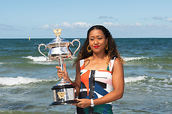 MELBOURNE, Jan. 27, 2019  Naomi Osaka of Japan poses with the Daphne Akhurst Memorial Cup following her victory in the women's singles final at the Australian Open tennis championships at the Brighton Beach in Melbourne, Australia on Jan. 27, 2019. (Credit Image: © Elizabeth Xue Bai/Xinhua via ZUMA Wire)
