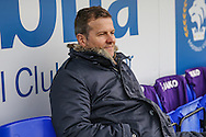 Forest Green Rovers manager, Mark Cooper watches on from dug out during the FA Trophy 2nd round match between Chester FC and Forest Green Rovers at the Deva Stadium, Chester, United Kingdom on 14 January 2017. Photo by Shane Healey.