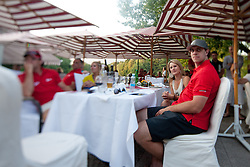Ines Dominc at table with Anze Kopitar, Justin Williams and Kelly Williams at Anze's Eleven and Triglav Charity Golf Tournament, on June 30, 2012 in Golf court Bled, Slovenia. (Photo by Matic Klansek Velej / Sportida)