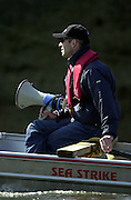 2003 - Rowing - 149th Varsity Boat Race - Tideway Week<br /> 31/03/03 Championship Course, River Thames, London.<br /> Oxford's blue boat morning training session. Oxford Chief coach, Sean Bowden [Mandatory Credit; Peter Spurrier/Intersport Images]