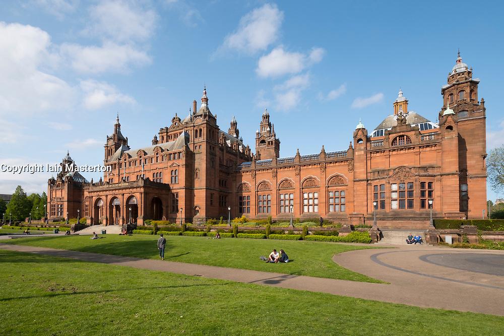 Exterior of Kelvingrove Art Gallery and Museum in Kelvingrove Park in west end of Glasgow, Scotland, united Kingdom