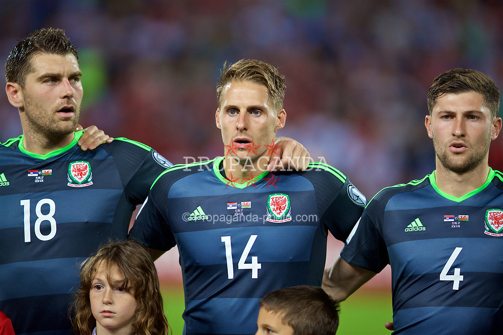 BELGRADE, SERBIA - Sunday, June 11, 2017: Wales' David Edwards lines-up to sing the national anthem during the 2018 FIFA World Cup Qualifying Group D match between Wales and Serbia at the Red Star Stadium. (Pic by David Rawcliffe/Propaganda)