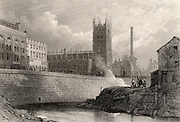 Manchester, England, from the River Irwell, showing the new buildings, including an imposing factory chimney, of a prosperous city contrasting with the small, old, crumbling industrial buildings on the right.  Manchester was the centre of the British cotton industry and was one of the earliest cities in Britain to be industrialised.  Engraving, mid-19th century.