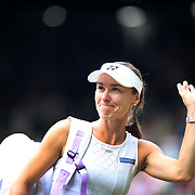 LONDON, ENGLAND - JULY 16: Martina Hingis of Switzerland after victory with Jamie Murray of Great Britain during the Mixed Doubles Final on Center Court during the Wimbledon Lawn Tennis Championships at the All England Lawn Tennis and Croquet Club at Wimbledon on July 16, 2017 in London, England. (Photo by Tim Clayton/Corbis via Getty Images)