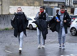 Faye Bryson of Bristol City Women, Laura Rafferty of Bristol City Women and Ella Mastrantonio of Bristol City Women arrives at Twerton Park prior to kick off - Mandatory by-line: Ryan Hiscott/JMP - 13/12/2020 - FOOTBALL - Twerton Park - Bath, England - Bristol City Women v West Ham United Women - Barclays FA Women's Super League