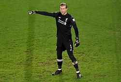 Liverpool goalkeeper Loris Karius gestures on the pitch