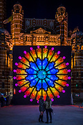 THE ROSE (made of plastic bottles) by<br /> Mick Stephenson<br /> with Electric Pedals in<br /> Westminster Cathedral Piazza - Lumiere London is a light festival that takes place over four evenings, from Thursday 18 to Sunday 21 January 2018. It showcases the capital's architecture and streets, with more than 50 works created by leading UK and international artists. The free outdoor festival returns to London for the second time following the success of the first edition in January 2016, which attracted an estimated 1.3 million visits. The 2018 edition has an expanded footprint extending north to south, from King's Cross, through Fitzrovia, Mayfair, and London's West End, to Trafalgar Square, Westminster, Victoria, South Bank and Waterloo. Lumiere is produced by Artichoke, the UK's leading producer of outdoor art events.