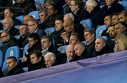 Manchester City manager Pep Guardiola (centre), chairman Khaldoon Al Mubarak (bottom left) and CEO Ferran Soriano (second bottom left) in the stands during the UEFA Champions League, Quarter Final at the Etihad Stadium, Manchester.