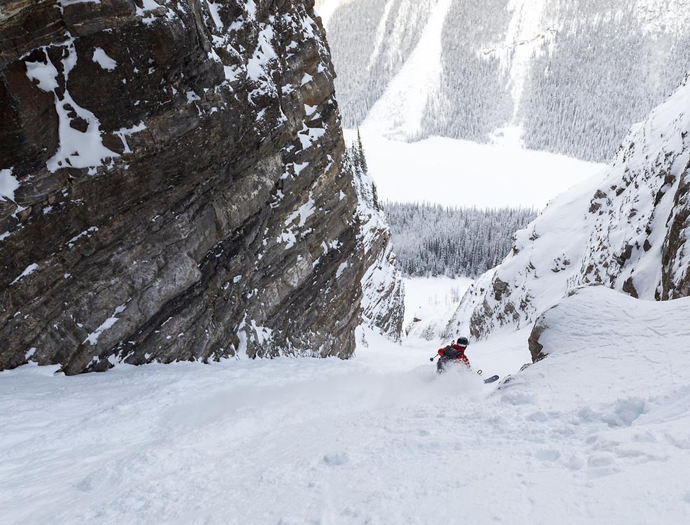 Taylor Sullivan skiing a couloir at Boom Lake in Kootenay National Park, BC, Canada