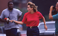 Channel 5 gets the story!  A reporter is determined to get a sound bitre from candidate Bill Clinton as he is on his morning jog in Little Rock ,Arkansas<br /><br />Photograph ny Dennis Brack. bb78