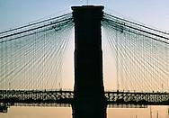 Brooklyn Bridge; New York City, NY side view
