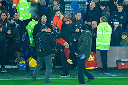 LIVERPOOL, ENGLAND - Monday, December 19, 2016: Liverpool's Adam Lallana celebrates with manager Jürgen Klopp after the late 1-0 victory over Everton in the FA Premier League match, the 227th Merseyside Derby, at Goodison Park. (Pic by Gavin Trafford/Propaganda)