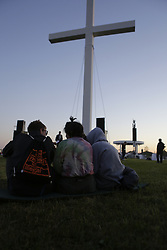 May 28, 2017 - Lutherstadt Wittenberg, Saxony-Anhalt, Germany - People have assembled around the cross for a sunrise service. Around 140,000 visitors are expected for the closing service of the 36th Kirchentag. The German Protestant Church Congress was held in Berlin and Wiitemberg, conceding with the 500th anniversary of the reformation. (Credit Image: © Michael Debets/Pacific Press via ZUMA Wire)