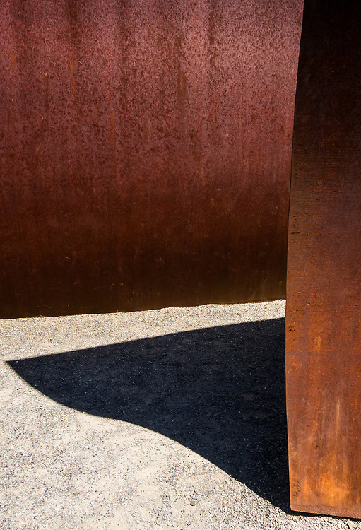 Detail of a sculpture called Wake by Richard Serra, 2004 in the Seattle Sculpture Park, Seattle, Washington, USA.