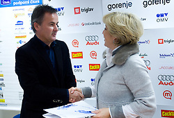Primoz Ulaga signs a contract for sponsorship with Bojana Hrovatic of Akuro at press conference, on December 22, 2008, Ljubljana, Slovenia. (Photo by Vid Ponikvar / SportIda).