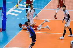 September 12, 2018 - Varna, Bulgaria - The National team of volleyball of Iran celebrate after win a point against Puerto Rico during Iran vs Puerto Rico, pool D, during 2018 FIVB Volleyball Men's World Championship Italy-Bulgaria 2018, Varna, Bulgaria on September 12, 2018  (Credit Image: © Hristo Rusev/NurPhoto/ZUMA Press)
