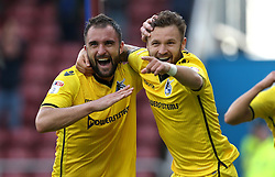 Peter Hartley of Bristol Rovers celebrates with Matt Taylor after scoring a goal that puts his team 1-2 up against Northampton Town - Mandatory by-line: Robbie Stephenson/JMP - 01/10/2016 - FOOTBALL - Sixfields Stadium - Northampton, England - Northampton Town v Bristol Rovers - Sky Bet League One