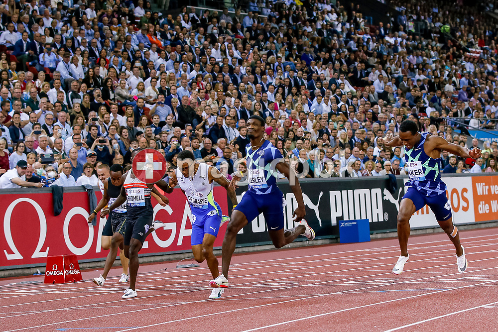 Fred Kerley (C) of the United States celebrates after winning the 100m Men in front of Andre De Grasse of Canada (CL) and Ronnie Baker (R) of the United States during the Iaaf Diamond League meeting (Weltklasse Zuerich) at the Letzigrund Stadium in Zurich, Switzerland, Thursday, Sept. 9, 2021. (Photo by Patrick B. Kraemer / MAGICPBK)