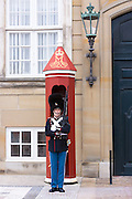 Royal Guard, Den Kongelige Livgarde, in uniform at sentry box at Royal Amalienborg Palace, Copenhagen, Denmark
