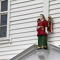 Europe, Norway, Bergen. Architectural Detail in Bryggen, a UNESCO World Heritage Site.
