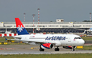 YU-APA Air Serbia Airbus A319-132 Photographed at Malpensa airport, Milan, Italy