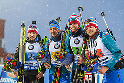 March 16, 2019 - –Stersund, Sweden - 190316 Matvey Eliseev, Nikita Porshnev, Dmitry Malyshko and Alexander Loginov of Russia celebrate on the podium after the Men's 4x7,5 km Relay during the IBU World Championships Biathlon on March 16, 2019 in Östersund..Photo: Petter Arvidson / BILDBYRÃ…N / kod PA / 92269 (Credit Image: © Petter Arvidson/Bildbyran via ZUMA Press)