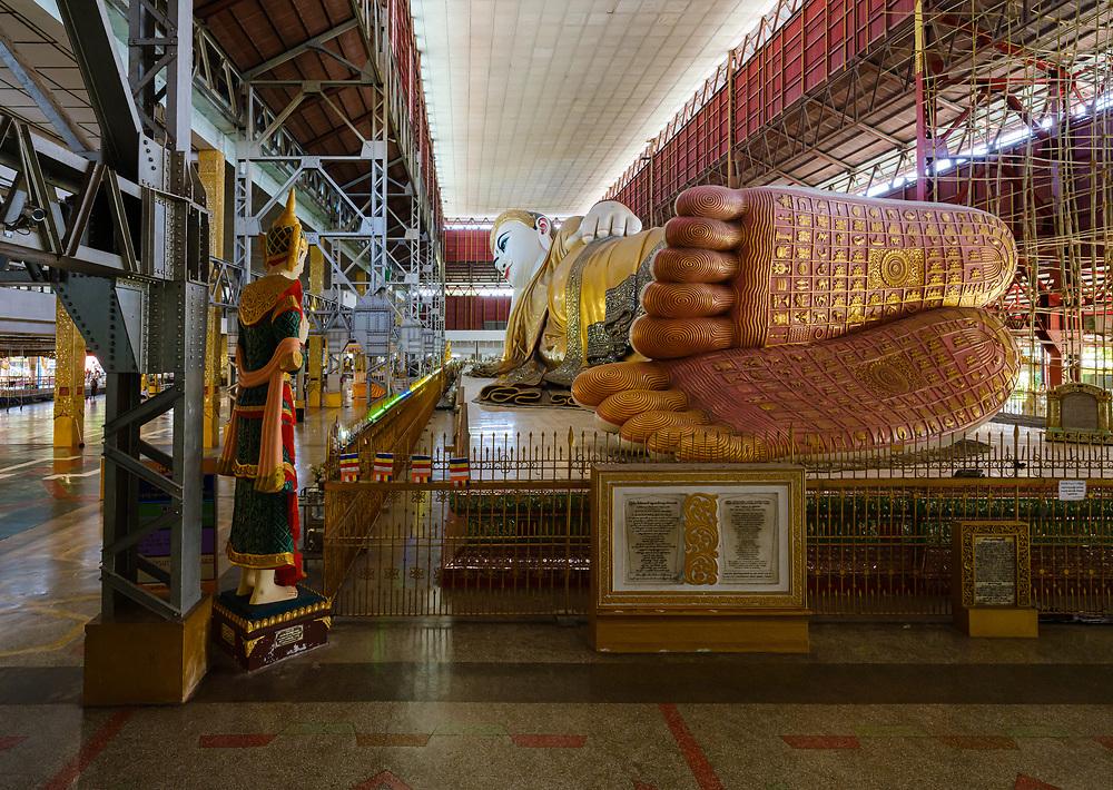 YANGON, MYANMAR - CIRCA DECEMBER 2017: Chauk-Htat-Gyi Buddha Temple Buddha Temple. Is the most well-known Buddhist temple in Bahan Township close to Yangon.