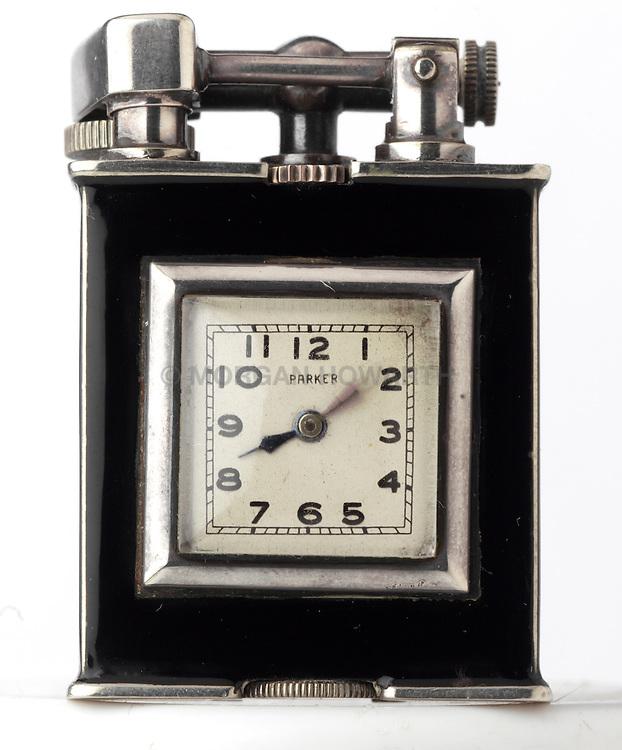 Art Deco Cigarette lighter with watch inside