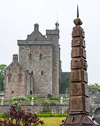 Pictured: Scotland's oldest obelisk sundial resinstated. Drummond Castle, Perthshire, Scotland, United Kingdom, 24 June 2019. On a typically dreich Scottihs day, Scotland's oldest Obelisk Sundial, dating from 1630 and which featured in Sony's Outlander TV Series,  is reinstated as the centrepiece of Drummond Castle Gardens in after 2 years of restoration by Graciela Ainsworth Sculpture Conservation.<br /> <br /> Sally Anderson | EdinburghElitemedia.co.uk