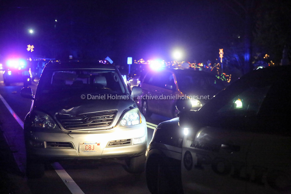 (12/6/17, HOLLISTON, MA) An SUV involved in a pedestrian accident in front of 100 Summer St. in Holliston on Wednesday evening. One person was transported to Milford Regional Medical Center with extensive injuries. [Daily News and Wicked Local Photo/Dan Holmes]