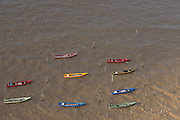 Fishing boats<br /> Atlantic Ocean<br /> Shell Beach<br /> North GUYANA<br /> South America