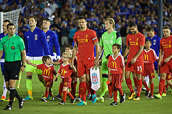 PASADENA, USA - Wednesday, July 27, 2016: Liverpool's captain Dejan Lovren leads his side out to face Chelsea before the International Champions Cup 2016 game on day seven of the club's USA Pre-season Tour at the Rose Bowl. (Pic by David Rawcliffe/Propaganda)