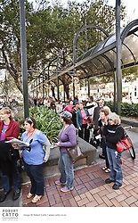 The Festival's Tix for $20 booth offers discounted tickets on the day of the show, even for sold-out performances - so crowds have gathered daily to snap up a deal.
