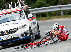 Injured Andrea Vendrame (ITA) of Androni-Sidermec-Bottecchia during Stage 2 of 24th Tour of Slovenia 2017 / Tour de Slovenie from Ljubljana to Ljubljana (169,9 km) cycling race on June 16, 2017 in Slovenia. Photo by Vid Ponikvar / Sportida