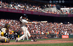 Oct 3, 2021; San Francisco, California, USA; San Francisco Giants catcher Buster Posey (28) connects for a two-RBI single against the San Diego Padres during the third inning at Oracle Park. Mandatory Credit: D. Ross Cameron-USA TODAY Sports