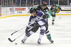 15 November 2013: Travis Granbois & Bret Peppler. Louisiana IceGators at Bloomington Thunder Southern Professional Hockey League (SPHL) at the U.S. Cellular Coliseum in Bloomington Illinois