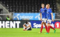 Fotball Menn NM Cup Kvartfinale Rosenborg-Vålerenga<br /> Lerkendal Stadion, Trondheim<br /> 27 august 2017<br /> <br /> Glade gutter i forgrunnen:VIF-spillerne Jonatan Tollås Nation og Henrik Kjelsrud Johansen (H) Bak til venstre depper Rosenborgs Anders Trondsen<br /> <br /> <br /> <br /> Foto : Arve Johnsen, Digitalsport