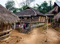 KYAING TONG, MYANMAR - CIRCA DECEMBER 2017:   Wan Sai Akha Village in the area of Kyaing Tong in Myanmar